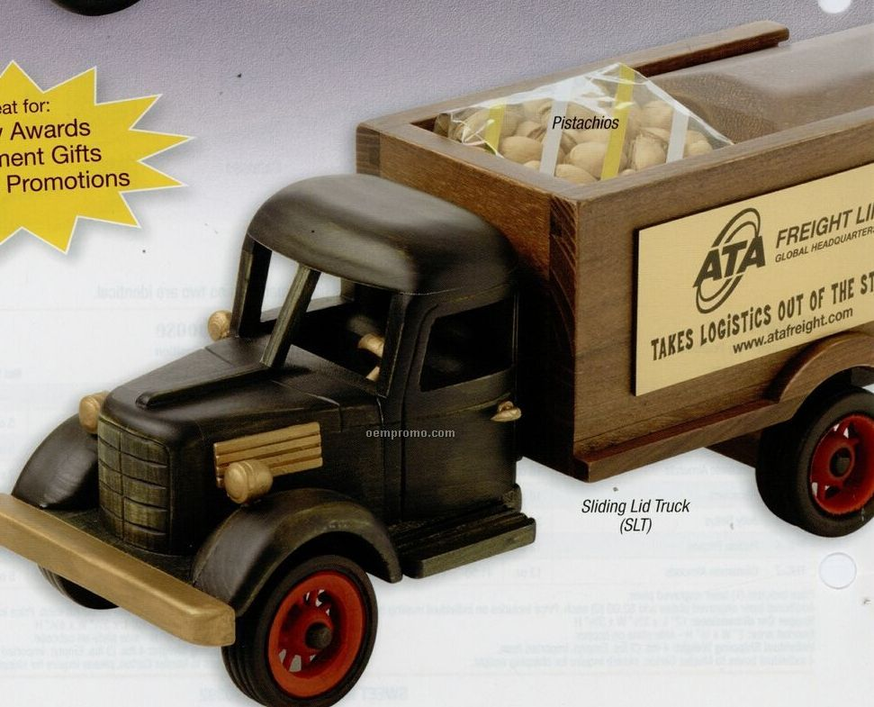Wooden Sliding Truck W/ Deluxe Mixed Nuts (No Peanuts)