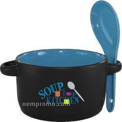 12.5 Oz. Crock And Spoon-cobalt And Black-spot Color