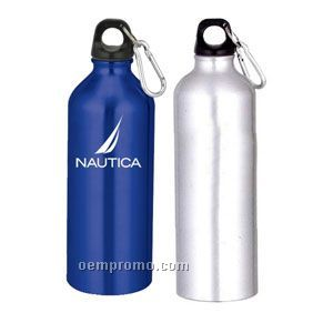 25 Oz. Aluminum Water Bottle With Carabiner - Silver