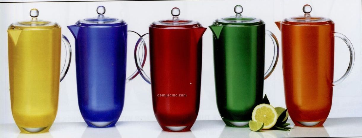 96 Oz. Silky Shade Colorful Cased Acrylic Pitchers With Lid