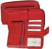 Brown Crocodile Leather Maxi Zip Wallet
