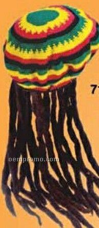 Novelty Cotton Crochet Rasta Tam Hat W/ Dread Locks Attached
