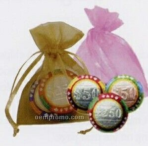 """1-1/2"""" 100% Belgian Standard Chocolate Casino Chips With Bag (3 Piece)"""