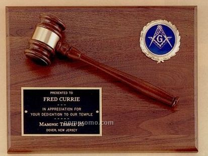 American Walnut Plaque & Gavel W/ Activity Insert