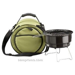 Black Mini Grill With Cooler Bag