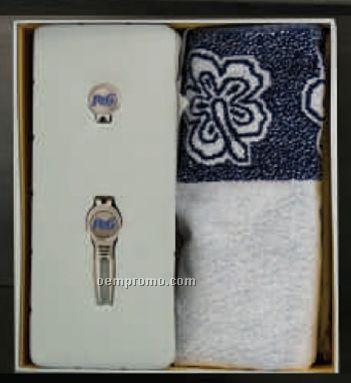 Custom Golf Gift Set With Cool Tool/ Cap Clip & Woven Jacquard Golf Towel