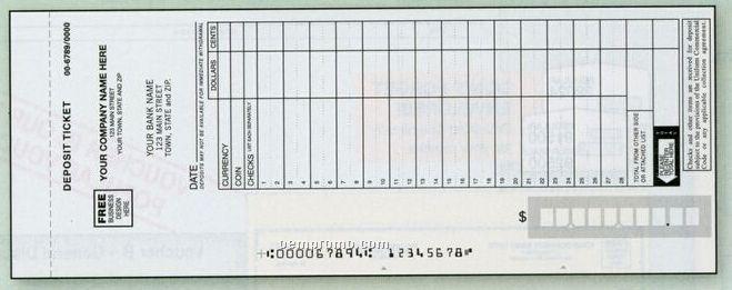 Maximum Entry Deposit Ticket Book