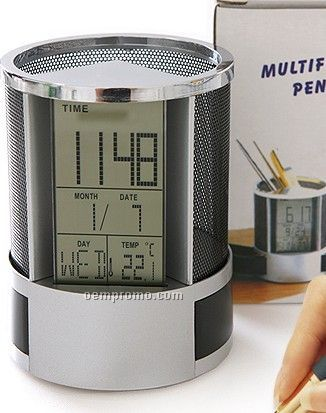Pen Container With Electronic Watch