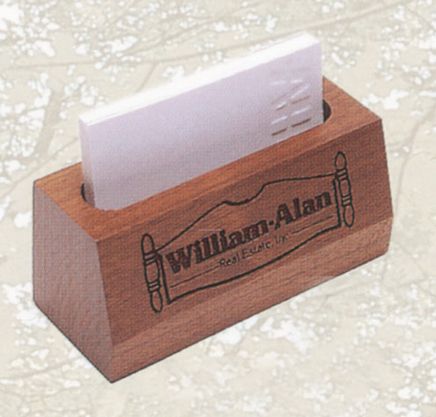 desk business card holder engraved