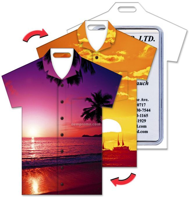 Luggage Tag, T-shirt Shape, Hawaiian Flowers Stock Design, Blank