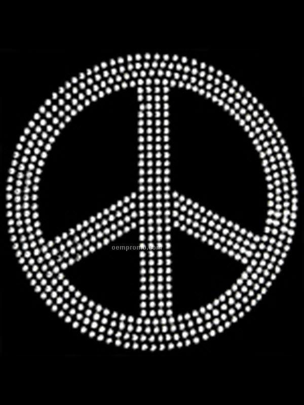 Peace Symbol Clear Rhinestones