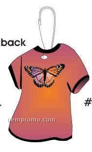 Purple & Pink Butterfly T-shirt Zipper Pull