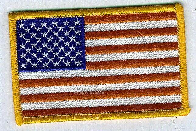 "Stock AM Flag Patch W/Gold Border (3.5"" X 2"")"