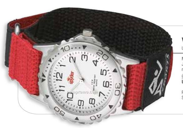 Watch Creations/ Unisex Sport Watch W/ Red & Black Nylon Strap