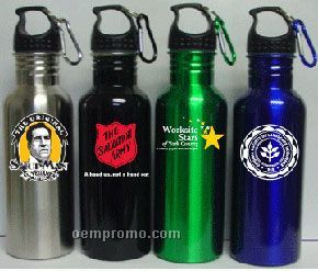 22 Oz. Wide Mouth Stainless Steel Water Bottle With Carabiner