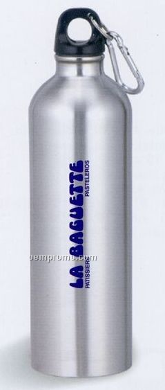 25 Oz. Stainless Steel Water Bottle With Carabiner Clip