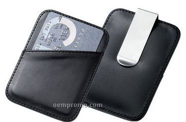 Pu Leatherette Card Holder With Money Clip