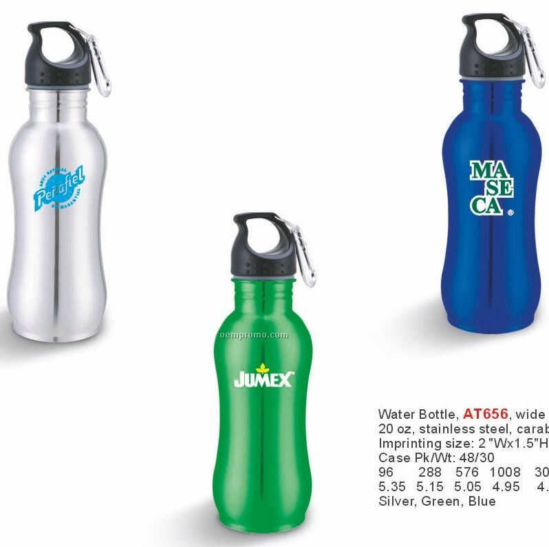 20 Oz. Stainless Steel Wide Mouth Water Bottle With Carabiner - Silver