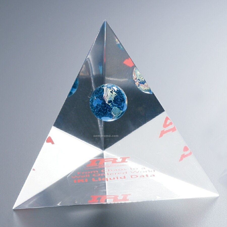 "Lucite 3 Sided Pyramid Award (4""X6""X4"")"