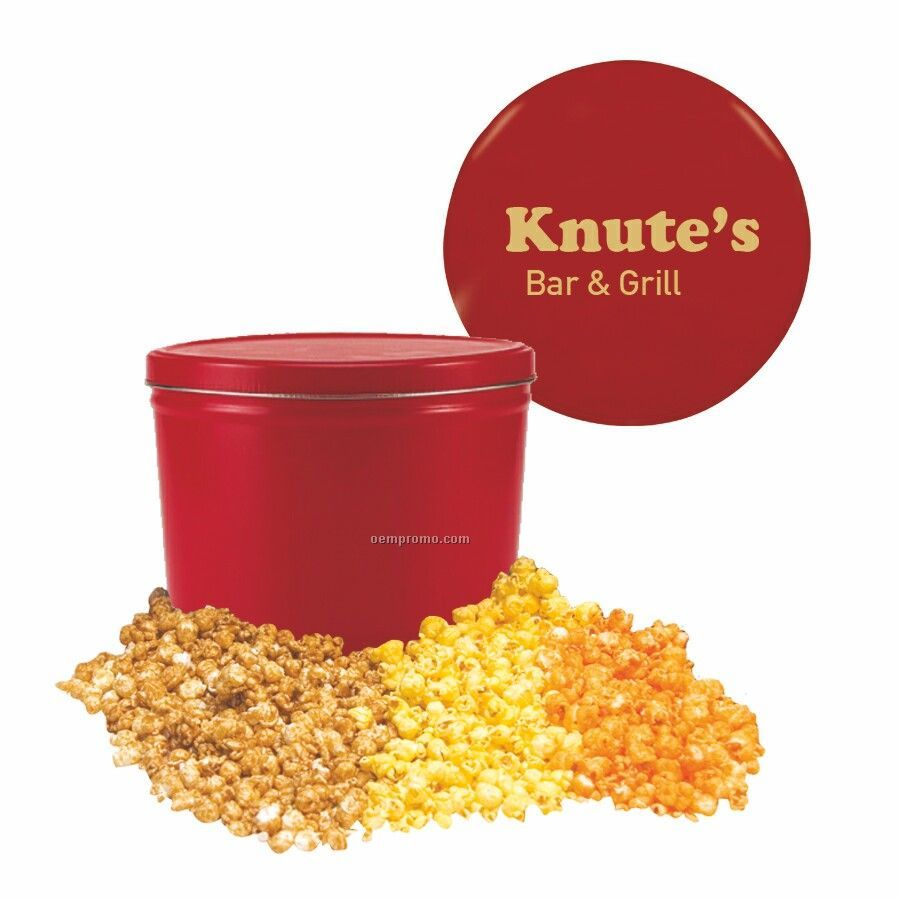 Red Three Way Two Gallon Popcorn Tin W/ Caramel, Butter & Cheese Flavors