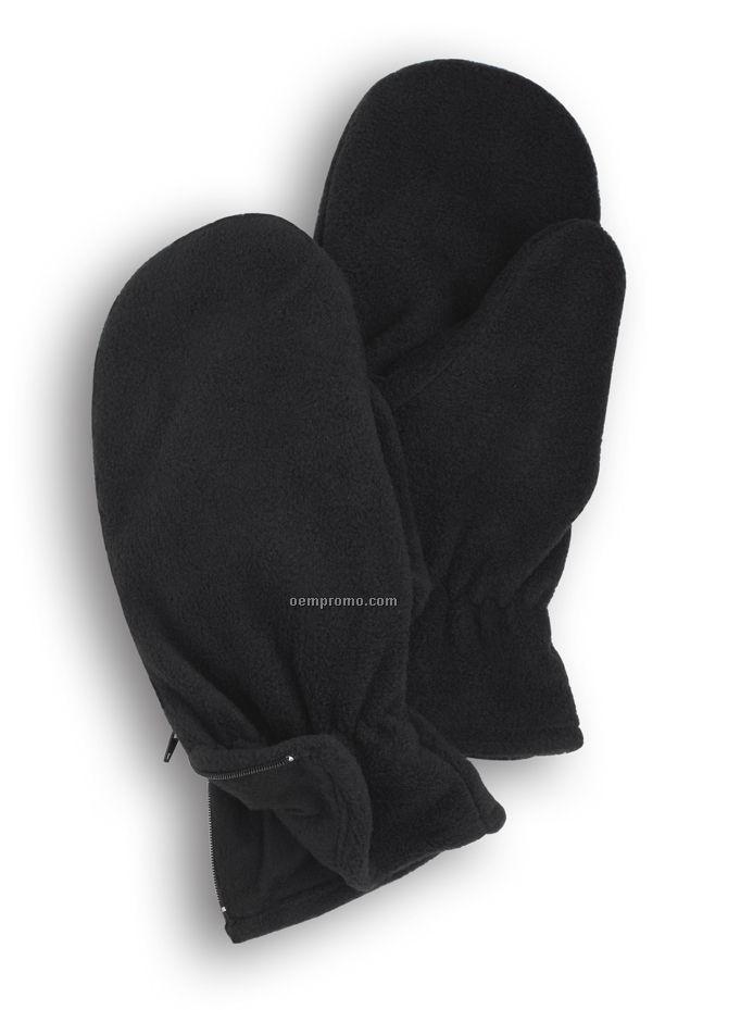 Wolfmark Black Fleece Zipper Mitten
