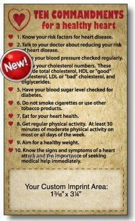 """3-1/2""""X6"""" 10 Commandments For A Healthy Heart Mega-mags"""