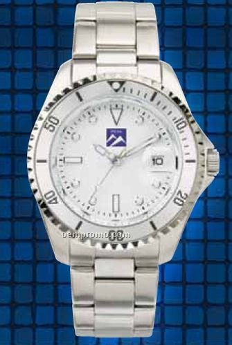 Men's White Dial Watch W/ Folded Steel Bracelet & Magnified Date Display