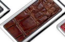 Metal Chrome Plated Money Clip With Brown Pvc Crocodile Skin Pattern
