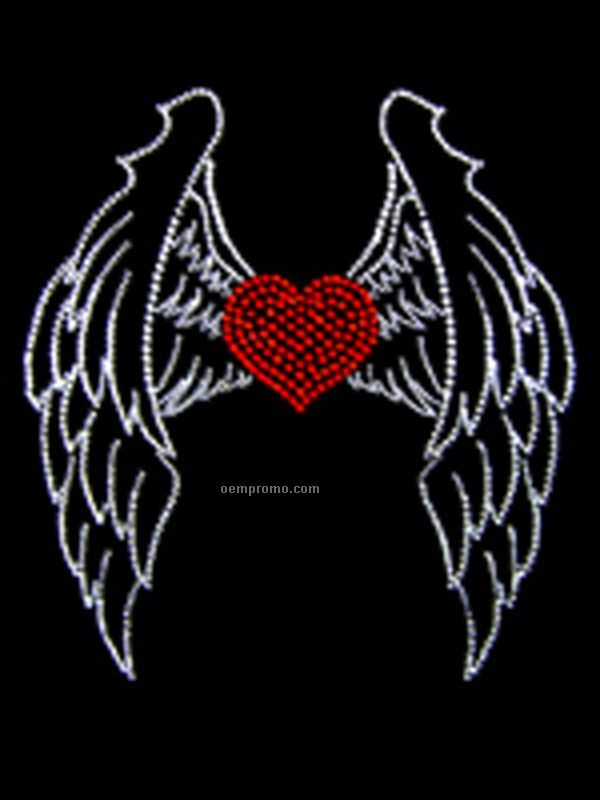 Wings And Heart Large Rhinestone And Rhinestud Transfer