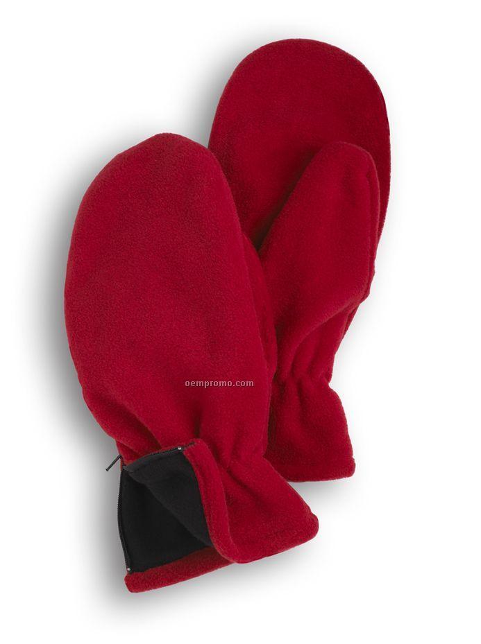 Wolfmark Red Fleece Zipper Mitten