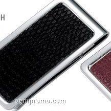 Metal Chrome Plated Money Clip With Black Snake Skin Pattern