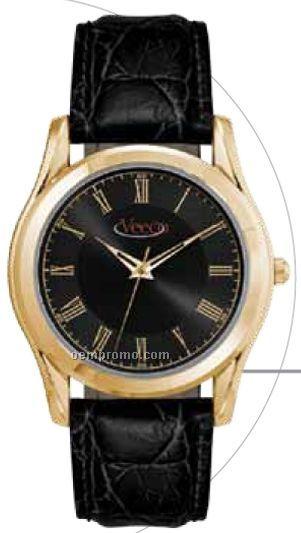 Men's 38 Mm Metal Case Watch W/ Polished Gold Finish & Black Dial