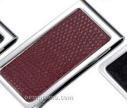 Metal Chrome Plated Money Clip With Brown Snake Skin Pattern