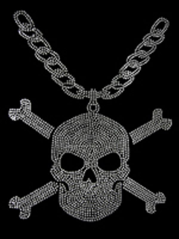Skull W/Chain Large Rhinestud Transfer