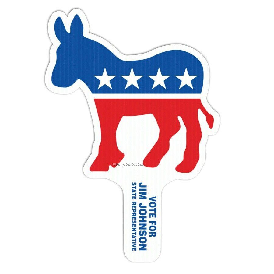 """Standard 8""""X12"""" Hand Fan - Democrat Donkey"""