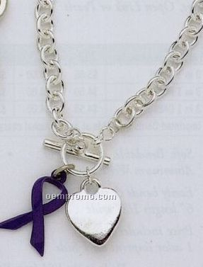 Tiffany Style Bracelet With Awareness Ribbon & Flat Heart
