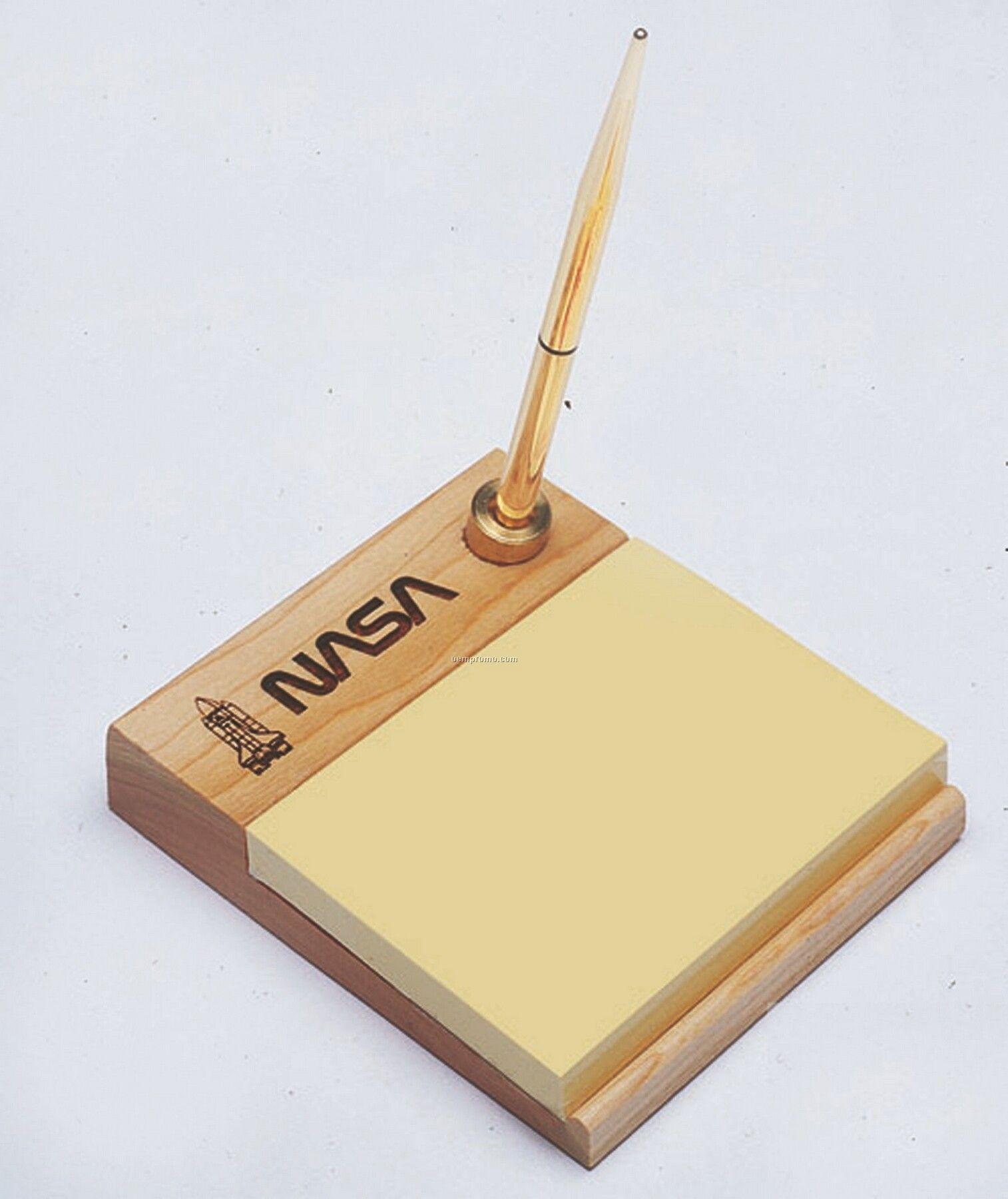 Wooden Memo Pad Holder W/ Pen & 3