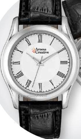 Men's Classic Casual Watch W/ Crocodile Leather Strap