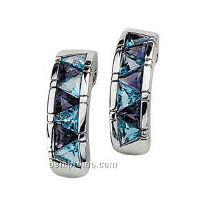 Sterling Silver Genuine Multi-color Gemstone Earrings