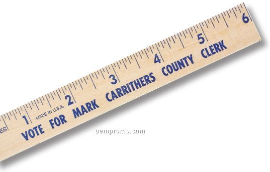 "Natural Finish Flat 6"" Wood Ruler/English Scale (7/8"" Wide) - 1 Color"