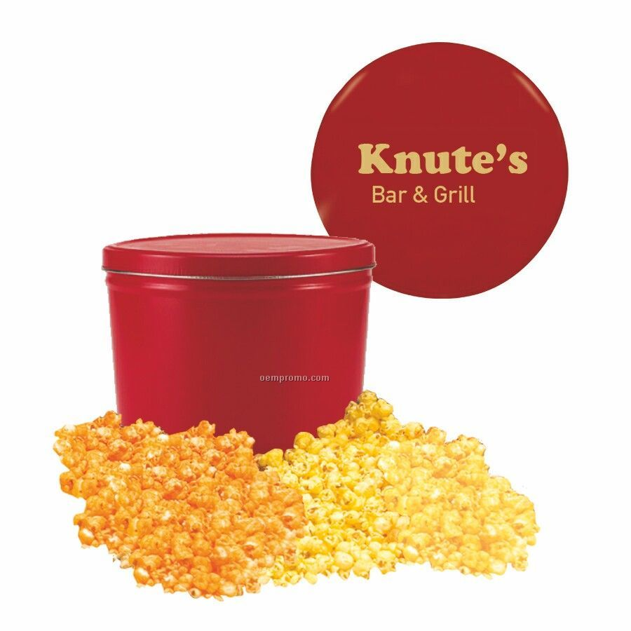 Red Two Way Two Gallon Popcorn Tin With Butter & Cheese Flavors
