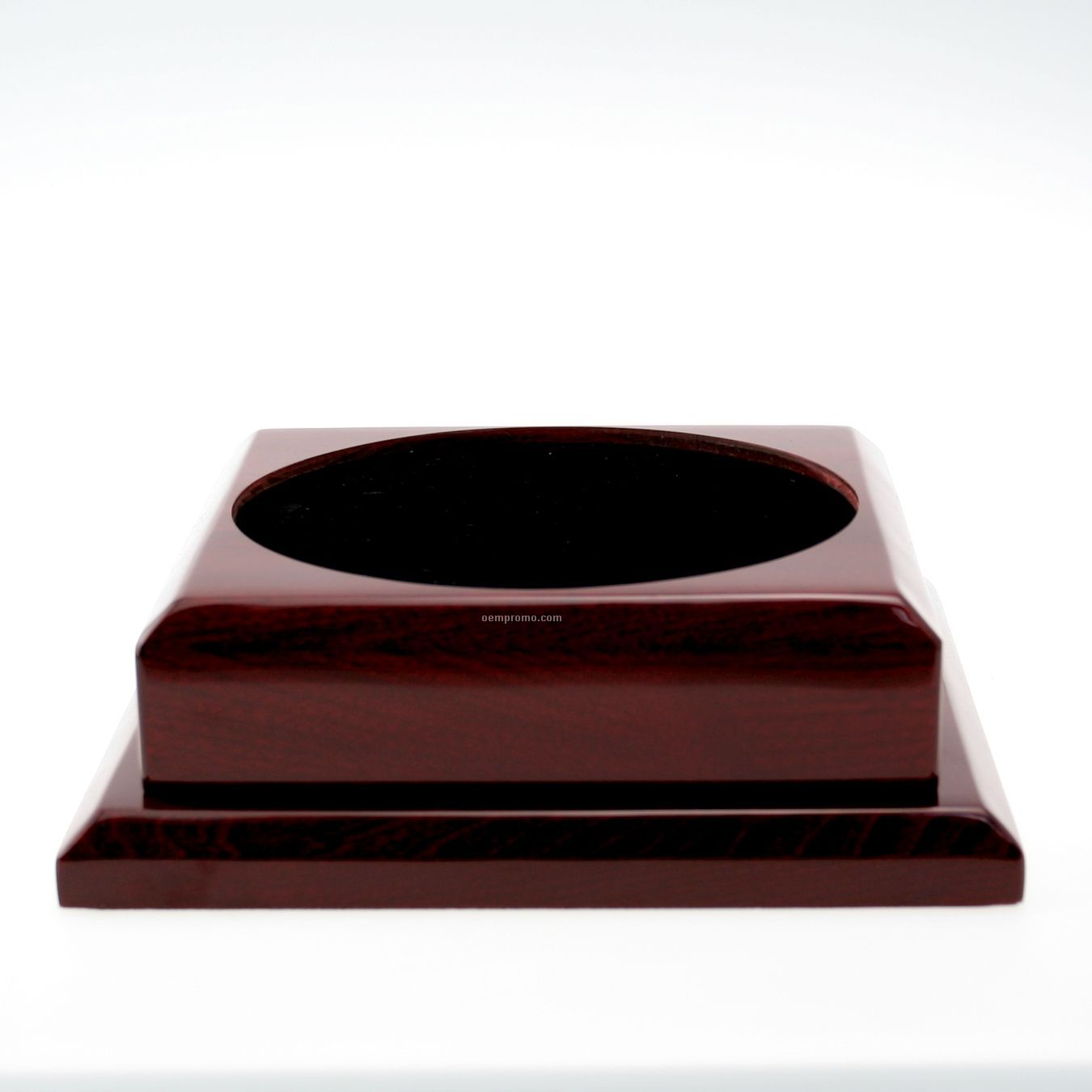 Large Square Rosewood Base W/ Plain Brass Plate
