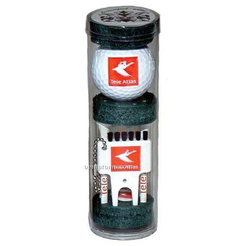 "Long Golf Tee Combo Pack W/ 6 Tees/ Ball/ Marker/ Brush Divot Tool (2 3/4"")"