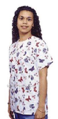 Ladies Heart Print V-neck Gripper Tunic Scrub Top (Xs-xl)