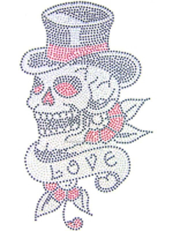 Small Skull Top Hat Love Rhinestud Transfer
