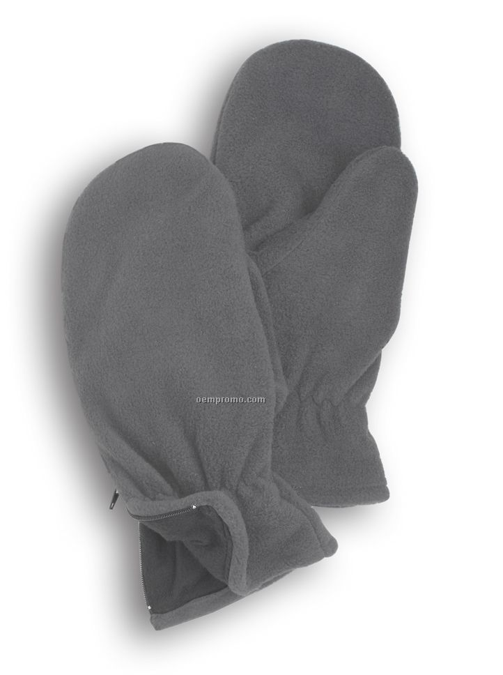 Wolfmark Charcoal Gray Fleece Zip Mitten