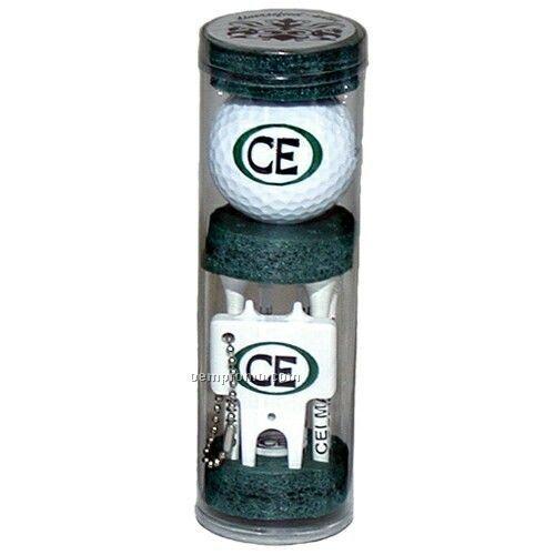 Long Golf Tee Combo Tube Pack W/ 6 Tees/ Ball/ Marker & Plastic Divot Tool