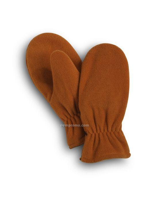 Wolfmark Orange Fleece Zip Mitten