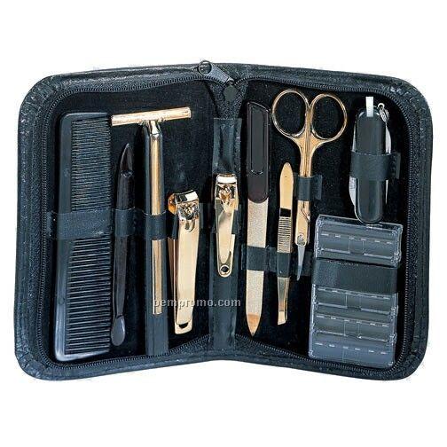 10 Piece Manicure Set With Black Zippered Case