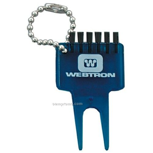 """Plastic Bent Divot Tool With Cleat Brush & Bead Chain (2 1/8""""X1 1/4"""")"""